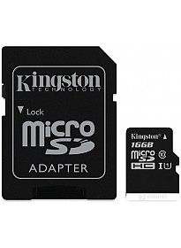 Карта памяти Kingston microSDHC (Class 10) U1 16GB + адаптер [SDCIT/16GB]