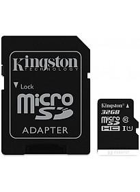 Карта памяти Kingston microSDHC (Class 10) U1 32GB + адаптер [SDCIT/32GB]