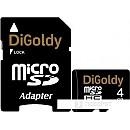Карта памяти DiGoldy microSDHC (Class 10) 4GB + адаптер [DG004GCSDHC10-AD] фото и картинки на Povorot.by