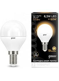 Светодиодная лампа Gauss E14 6.5 Вт 2700 К [105101107]