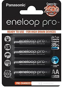 Аккумуляторы Panasonic Eneloop Pro AA 2500mAh 4 шт. (BK-3HCDE/4BE)