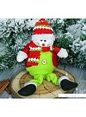 Мягкая игрушка Зимнее волшебство Снеговик в пиджаке, 9*30 см