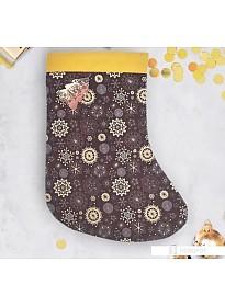 Сапог для подарков Зимнее волшебство Пусть всё сбудется Носок 30 см (фиолетовый/золотистый)