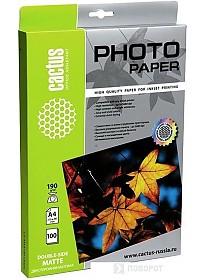 Фотобумага CACTUS Двусторонняя матовая A4 190 г/кв.м. 100 листов (CS-MA4190100DS)
