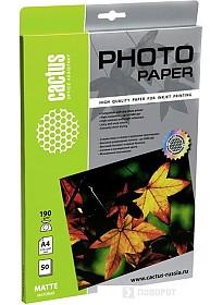 Фотобумага CACTUS Матовая A4 190 г/кв.м. 50 листов(CS-MA419050)
