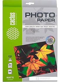 Фотобумага CACTUS Матовая A4 230 г/кв.м. 50 листов(CS-MA423050)
