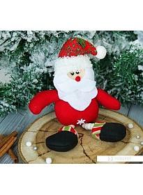 Мягкая игрушка Зимнее волшебство Дед Мороз ножки бусинки, 6*19 см