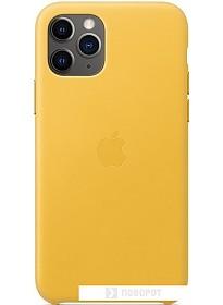 Чехол Apple Leather Case для iPhone 11 Pro (лимонный сироп)