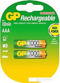 Аккумуляторы GP AAA 1000mAh 2 шт. [100AAAHC]