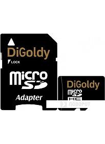 Карта памяти DiGoldy microSDHC (Class 10) 32GB + адаптер [DG032GCSDHC10-AD]
