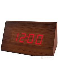 Радиочасы Perfeo Trigonal PF-S711T (коричневый/красный)