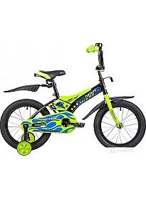 Детский велосипед Novatrack Flightline 16 (черный/зеленый, 2019)