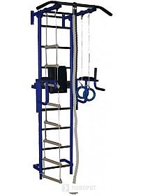 Детский спортивный комплекс Крепыш пристенный с брусьями-1 с ПВХ покрытием (синий)