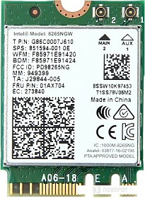 Wi-Fi/Bluetooth адаптер Intel Dual Band Wireless-AC 8265NGW
