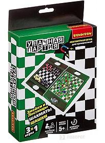 Шахматы/шашки Bondibon Удачная партия 3в1 ВВ3484