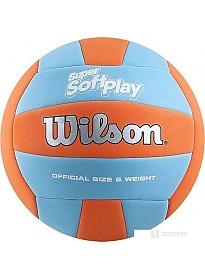 Мяч Wilson Super Soft Play Volleyball (5 размер, оранжевый/голубой)