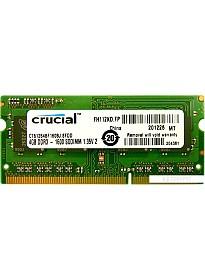 Оперативная память Crucial 4GB DDR3 SO-DIMM PC3-12800 (CT51264BF160BJ)